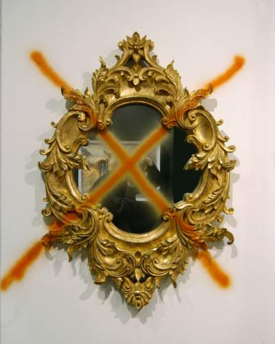 Untitled, mirror, golden frame, paint, 39.76 x 28.35 inches, 2003