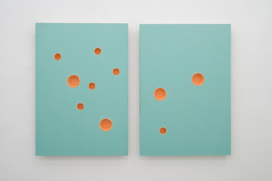 Magnet 1, Magnet 2, gypsum, cardboard, plastic, 130 x 200 cm, 2010