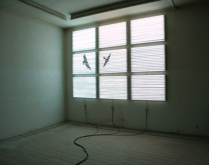 Vgel (Birds), fl-lights, cable, tape, dimensions variable, 2008