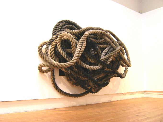 Study for a drawing, nautical rope, 96 x 109 x 36 inches, 2004