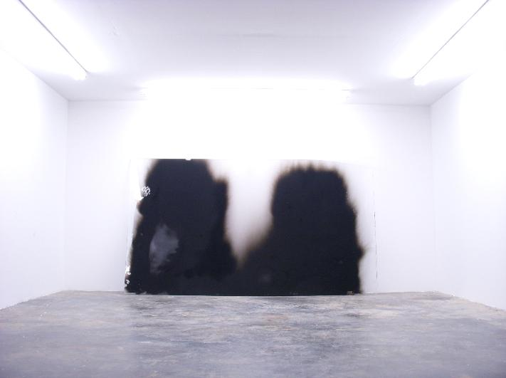 Sp.1, soot, plexiglass, 72 x 132 inches, 2007