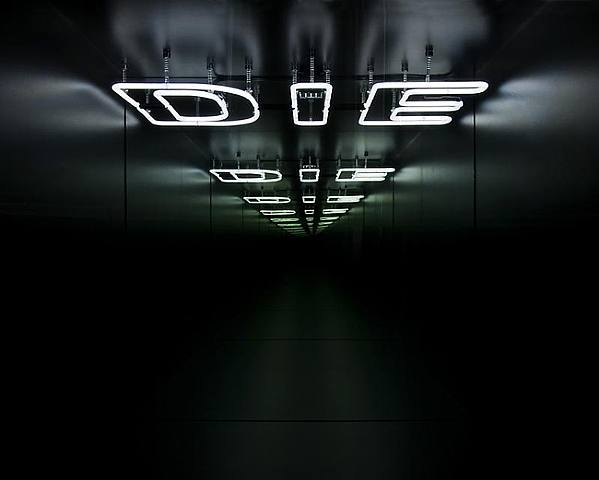 Die, wood, neon, mirror, one way mirror and electric system, 122 x 122 x 122 cm, 2009