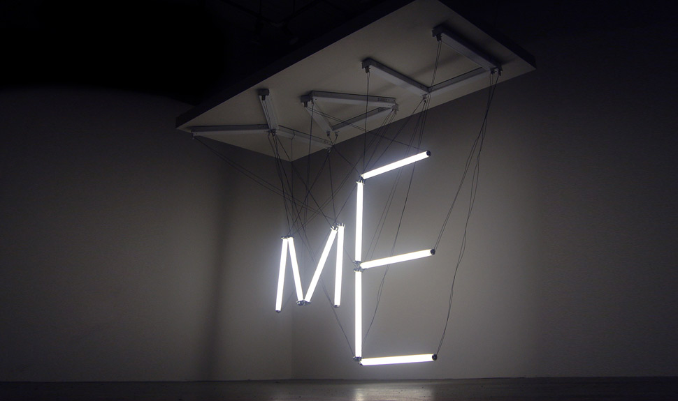 You  Me, fl tubes, wire, wood, 1 x 2 x 1.5 m, 2006